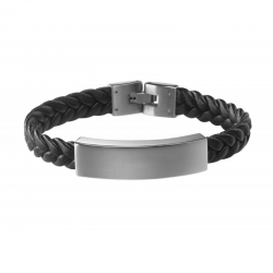 """Bracelet cuir et acier """"le gentleman"""""""