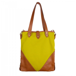 Sac HOBO M toile et cuir Moutarde Femme Mamix