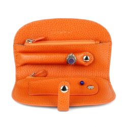 Trousse à bijoux de voyage en cuir orange 2